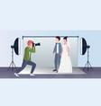 professional wedding photographer shooting on vector image