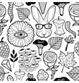 seamless pattern with monster flower eye and vector image vector image
