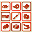 Set of 9 retro icons with meat pieces vector image vector image