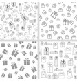 set seamless patterns with gift boxes vector image vector image