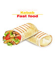 shawarma kebab fast food detailed vector image vector image