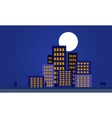 Silhouette of apartment building at night vector image