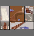 stairs and vases set vector image vector image