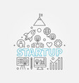 startup line start-up icons in house vector image vector image