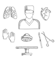 Surgeon profession objects and icons vector image vector image