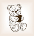 teddy bear engraving vector image