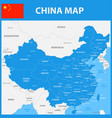the detailed map of china with regions or states vector image vector image