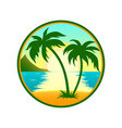tropical beach with palm tree round icon vector image