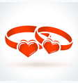 two red wedding rings st valentines day design vector image vector image