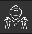 vr player chalk icon vector image vector image