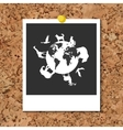 cork board with instant photo card and vector image