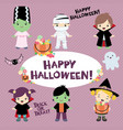 halloween costumed children design set vector image
