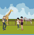zoo cartoon people with animals scene vector image