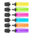 realistic highlighter pen icon set isolated vector image