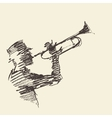 Jazz poster Man playing trumpet drawn sketch vector image