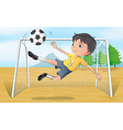 A soccer player kicking a soccer ball vector image vector image