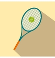 A tennis racquet and a ball flat icon vector image