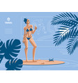 a woman on the beach in summer in swimsuit vector image