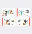 airport landing page template set people boarding vector image vector image