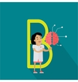 B Letter and Scientist with Artificial Brain vector image vector image