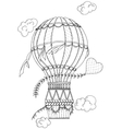 Black and white air balloon and doodle heart vector image vector image