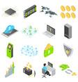 blockchain technology icons set isometric style vector image