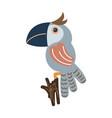 blue parrot bird cartoon vector image