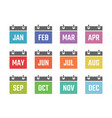 calendar 12 month icon set color signs for all vector image vector image