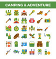 camping and outdoor adventure flat icons vector image