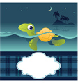Card With Funny Turtle vector image vector image