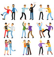 cartoon flat characters of aggressive people in vector image