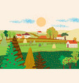 cartoon flat village with colorful scenery vector image vector image