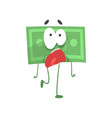 cartoon green dollar with scared face expression vector image vector image