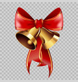 christmas decoration golden bells on red ribbon vector image vector image