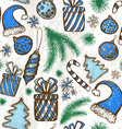Christmas seamless background - sketched elements