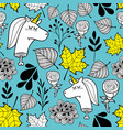 colorful seamless pattern with unicorns and autumn vector image