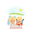 cute little boy and girl reading fairy tail vector image vector image