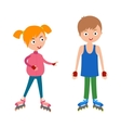 Cute young girl and boy in roller pink skates vector image