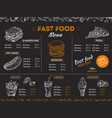 fast food menu sketch sandwich burger pizza vector image