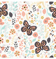 Flower and Butterfly seamless Pattern vector image vector image