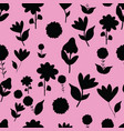 folk black flowers on pink background seameless vector image vector image