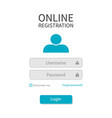 form registration with login and password vector image