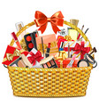 gift basket with makeup cosmetics vector image