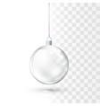 glass christmas ball realistic glossy crystal vector image vector image