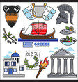 greece travel and culture landmarks sightseeing vector image vector image