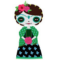 green catrina doll on a white vector image