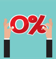 hand catch a zero percent interest symbol vector image vector image