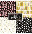 Hand drawn seamless patterns hipster backgrounds vector image vector image