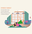 happy woman and child doing fitness training vector image vector image