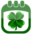 icon st patrick day in a calendar with shamrock vector image vector image